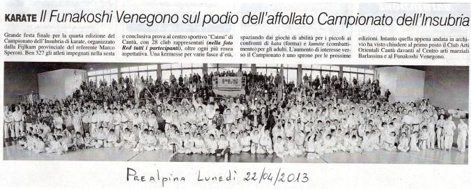 Articolo Prealpina Aprile 2013
